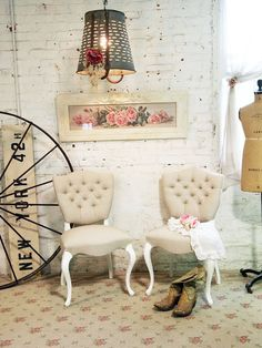 One of a KInd Romantic Boudoir Chair The painted cottage.