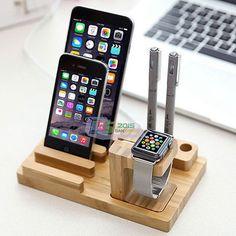 Moda Madera Bambú Stand De Reloj De Carga Dock Soporte Para Apple Iphone Iwatch