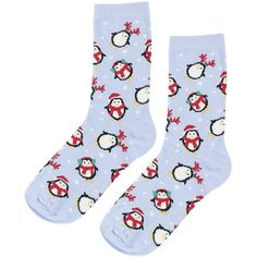 TOPSHOP Pinspot Penguins Ankle Socks ($5.31) ❤ liked on Polyvore featuring intimates, hosiery, socks, pale blue, cotton ankle socks, topshop, ankle socks, tennis socks and cotton socks