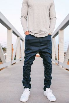Curated footwear, fashion & style for the self-sufficient individual. Drop Crotch Jeans, Urban Fashion, Mens Fashion, New Fashion Trends, Sport Chic, Shorts, Athleisure, Dapper, Fall Outfits