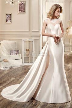 Robe de mariée sans taille de style sirène en col rond à manches courtes