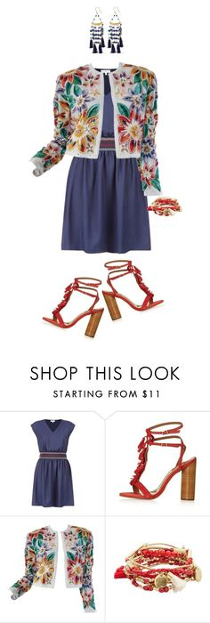 """""""Red White and Blue"""" by captainsilly ❤ liked on Polyvore featuring Claudie Pierlot, Topshop, Naeem Khan, Design Lab, Rosantica, redwhiteandblue and july4th"""