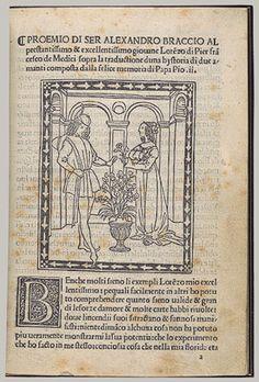 Hystoria di due amanti (Tale of Two Lovers), ca. 1500 Enea Silvio Piccolomini (Italian, Sienese, 1405–1464) Alessandro Braccesi (1445–1503), translator Published Florence: Piero Pacini da Pescia Printed book with woodcut illustrations