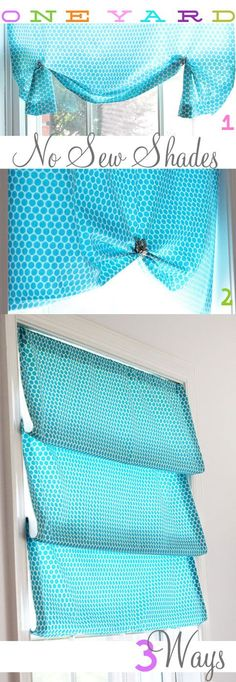 One Yard NO SEW Window Shade Styled 3 Different Ways