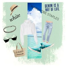 """Casual. White. Beach bum"" by hedeml on Polyvore featuring River Island, AG Adriano Goldschmied, Converse, Straw Studios, Revo, Sole Society and WardrobeStaples"
