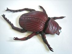 Leather Scarab Beetle Pendant