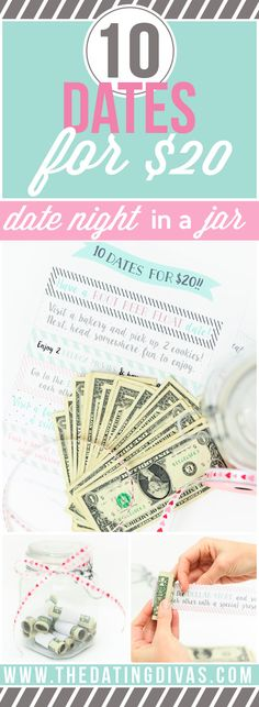 BEST BRIDAL SHOWER GIFT IDEA!!!! Date night made easy with a free printable featuring 10 Dates for $20!! Enjoy 10 date nights for only $2 a piece!