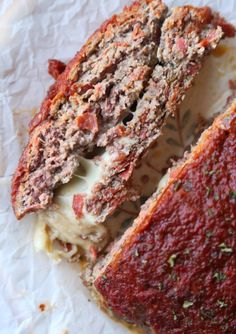Pizza Meatloaf ... So easy and loaded with mozzarella cheese in the middle!