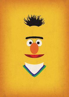 Nursery Decor Geek Art Bert Sesame Street Birthday by TheRetroInc Bert Sesame Street, Sesame Street Muppets, Sesame Street Characters, Sesame Street Party, Sesame Street Birthday, Sesame Street Room, Sesame Streets, Minimalist Poster, Minimalist Art