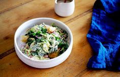 Brussels Sprout Caesar with Croutons, Borlotti Beans and Sunflower Seeds — The Design Files | Australia's most popular design blog.