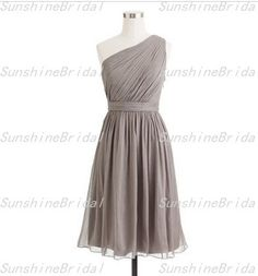 A-line One-shoulder Sleeveless Knee-length Chiffon Sash Grey Short Bridesmaid Dresses Short Prom Dress Formal Evening Dress 2014 New Arrival