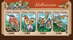 ST16420a Bee eaters (Merops nubicoides; Merops apiaster) Bee Eater, Stamps, Seals, Postage Stamps