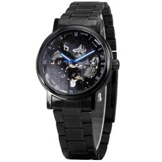 2017 New Black Men's Skeleton Wrist Watches Stainless steel Band Automatic Mechanical Watches Male Casual Luminous Hands +BOX Skeleton Mechanical Watch, Skeleton Watches, Inner Arm Tattoos, Faith Tattoo On Wrist, Dragon Tattoo Back Piece, Roman Numerals, Hades, Watches For Men, Wrist Watches