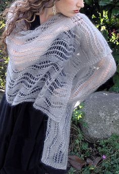 Free Knitting Pattern for Liquid Silver Shawl - This lace stole features lace zigzags and optional beads. Designed by by Rosemary (Romi) Hill for elann. Great for weddings and special events.