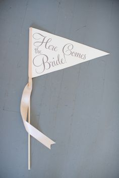 Items similar to Here Comes The Bride Sign Large Pennant Flag Wedding Banner Flower Girl Flag Ring Bearer Banner Page Boy Sign Modern Script 1002 LW on Etsy Wedding Flags, Wedding Signs, Wedding Bride, Our Wedding, Dream Wedding, Wedding Stuff, Camp Wedding, Wedding Bells, Wedding Ceremony