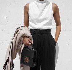sleeveless top with high neck + long coat + high waist trouser