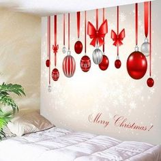Waterproof Christmas Bow Knots Balloons Pattern Wall Tapestry - COLORFUL W59 INCH * L59 INCH