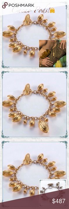 """Coming this Week18k Heavy Cacao Pod Bracelet Coming this week! Anitanja Jewelry Cacao Pod Charm Bracelet                                            heavy artisan-designed gorgeous piece!!       part of the Cocoa Pod Collection                      18k micron-thick gold plating over brass          also available in silver """"noir"""" in my closet (only 1 though)                                                          matching ring available too -like this listing for arrival notice and price drop…"""