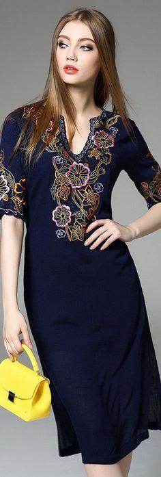 Navy Blue V Neck Short Sleeves Embroidered Dress