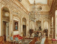 The Salon Chinois of Hôtel Rodocanachi—the home of Patricia and Arturo Lopez-Willshaw, at 14 rue du Centre in Neuilly-sur-Seine, France—watercolor painted by Alexandre Serebriakoff. Photo courtesy of Christie's Images Ltd. Palace Interior, Interior And Exterior, Jacqueline De Ribes, Winter Palace, Vintage Interiors, French Interiors, Interior Rendering, Antique Interior, Maria Jose