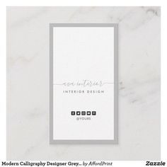Modern Luxe Pastel Grey Sophisticated Typography Clean Simple Border Layout Elegant Modern Style Font Designer Business Card w/ Social Media Icon Business Cards Layout, Vertical Business Cards, Simple Business Cards, Business Card Design, Minimalist Business Cards, Modern Minimalist, Interior Wall Colors, Simple Borders, Cleaning Business Cards