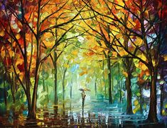 Forest Painting - October In The Forest by Leonid Afremov