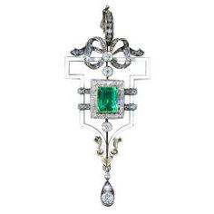 Late Victorian/Early Edwardian Emerald Diamond Pendant at 1stdibs