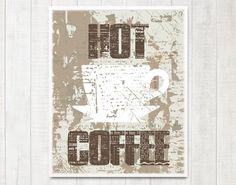 Typography Vintage Kitchen Wall Art HOT COFFEE door DIYwallART