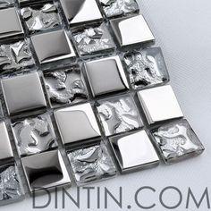 Silver glass mosaic tile 23x23mm