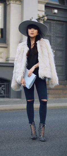 Trendy Hooded Long Sleeve Pure Color Faux Fur Women's Coat