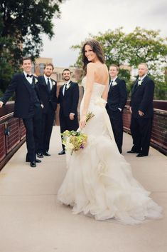 great way to show off the dress and the groomsmen #weddingphotography
