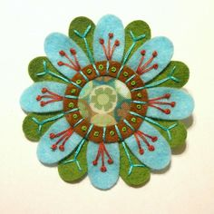 embroidered felt images | FELT AND FABRIC EMBROIDERED FLOWER BROOCH by APPLIQUE-designedbyjane ...