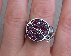 Jewelry Rings, Fine Jewelry, Pomegranate Fruit, Thing 1, Red Garnet, Armenia, Beautiful Rings, Handcrafted Jewelry, Jewelry Crafts