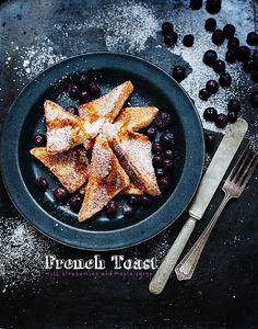 French toast with blueberries and maple syrup