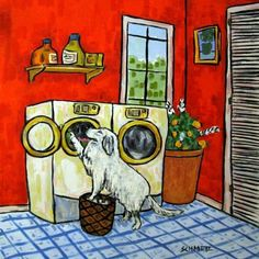 great pyrenees doing the laundry. i wish!
