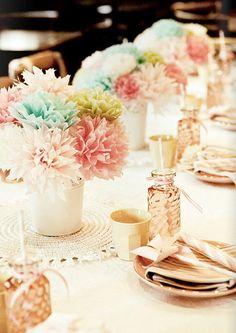 pastel tissue flowers, white vase, doily