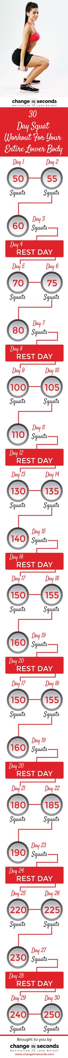 30 Day Squat Workout For Your Entire Lower Body (Download PDF)