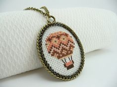 Coral hot air balloon cross stitch necklace  by TriccotraShop, $28.00