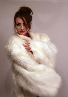 Designer white and pink faux fur street style oversized coat / Pink Faux Fur, Oversized Coat, Street Style, Streetwear Fashion, Original Artwork, High Fashion, Cotton Fabric, Fur Coat, Street Wear