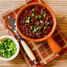 Vegan Lentil Chili with Roasted Red Peppers, Olives, and Green Onion found on KalynsKitchen.com