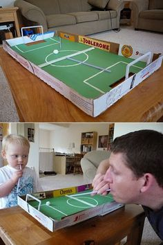 15 Awesome Things You Can Make With a Stupid Pizza Box I love the soccer game and the solar oven ideas # Kids Crafts, Diy And Crafts, Soccer Crafts, School Projects, Projects For Kids, Games For Kids, Diy For Kids, Home Activities, Summer Activities
