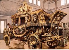 Historical photo of the extravagant carriage that belonged to Charles X, displayed in a museum on a wooden floor in Versailles, France, between 1890 and Charles X, Chateau Versailles, French Royalty, French History, Horse Carriage, Buggy, Horse Drawn, Historical Photos, Baroque