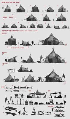 ::crude tents::   ArtStation - Professional work / 2013, Byung Cheol (FEBUD) Concept Art Landscape, Fantasy Landscape, Environment Concept Art, Environment Design, Fantasy World, Fantasy Art, Pixel Art, Building Concept, Cartoon Background