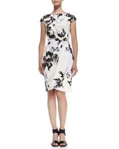 Lela Rose Inkblot-Print Cap-Sleeve Sheath Dress