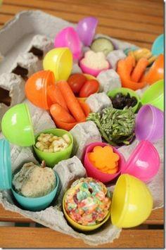 egg carton Easter snacks for kiddos