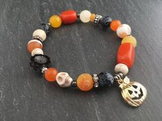Gemstone Skull Bracelet Skeleton Bracelet Candy Corn Pumpkin Bracelet Halloween Jewelry Spooky Jewelry Halloween Candy by FeminineGenius - handmade jewelry - artisan jewellery - etsy Skeleton Bracelet, Skull Bracelet, Beaded Bracelets, Necklaces, Halloween Jewelry, Holiday Jewelry, Halloween Beads, Halloween Earrings, Fall Jewelry