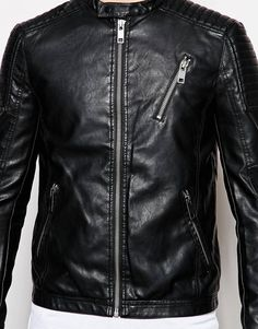 Image 3 ofNew Look Faux Leather Zip Jacket