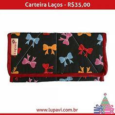 Natal Lupavi  Carteira Laços  R$35,00  Carteira linda e moderna  www.lupavi.com.br/carteira-lacos  #LupaviPatchwork #natal #carteira #CarteiraLaços #laços #lacinhos #ribbon #presente #dinheiro #moedas #CartãoDeCrédito #mimo #Lupavi