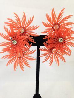 Vintage 1950's Orange plastic flower by BaublesandBagatelles