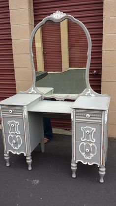 Vintage French Provincial Gray Vanity Desk by WoodRemains on Etsy